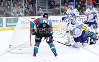 Press Eye - Belfast -  Northern Ireland - 09th February 2018 - Photo by William Cherry/Presseye. Belfast Giants David Rutherford scoring against Fife Flyers during Friday nights Elite Ice Hockey League game at the SSE Arena, Belfast.
