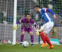 PressEye-Northern Ireland- 18th April 2017-Picture by Brian Little/PressEye. Linfield  Andrew Waterworth    and Glenavon goal keeper Jonathan Tuffey  during Easter Tuesday\'s Danske Bank Section A match at Windsor Park.. Picture by Brian Little/PressEye