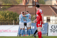 Sadler\'s Peaky Blinders Irish Cup First Round. The Showgrounds, Ballymena, Northern Ireland 27/4/21. Ballymena United vs Portadown. Ballymenas Paul McElroy scores. Mandatory Credit INPHO/PressEye/Philip Magowan