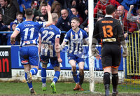 Danske Bank Premiership Play-Off, The Ballymena Showgrounds, Co. Antrim 7/4/2018 . Coleraine vs Cliftonville. Jamie McGonigle celebrates after scoring for Coleraine. Mandatory Credit ©INPHO/Freddie Parkinson