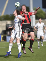 11th July 2019. Europa league First round qualifying match between Crusaders and B36 Torshavn at Seaview Belfast.. Crusaders Jordan Owens  in action with Torshavns Erling Jacobsen. Mandatory Credit / Stephen Hamilton/Inpho