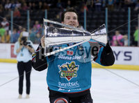 Press Eye - Belfast -  Northern Ireland - 06th April 2019 - Photo by William Cherry/Presseye. Belfast Giants\' Curtis Leonard pictured with the Elite Ice Hockey League trophy after being crowned Champions at the SSE Arena, Belfast.       Photo by William Cherry/Presseye