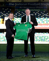 Press Eye - Belfast -  Northern Ireland - 09th February 2018 - Photo by William Cherry/Presseye. Michael O'Neill joined Irish FA President David Martin on the pitch at the National Football Stadium at Windsor Park today after signing a four-year contract extension which will see O'Neill continue as Northern Ireland senior men's international manager until 2024.