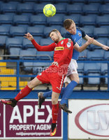 Danske Bank Premiership, Mourneview Park, Lurgan, Co. Armagh 13/1/2018. Glenavon vs Cliftonville. Glenavon\'s Caolan Marron with Rory Donnelly of Cliftonville. Mandatory Credit ©INPHO/Declan Roughan