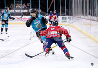 Press Eye - Belfast -  Northern Ireland - 14th September 2018 - Photo by William Cherry/Presseye. Belfast Giants\' Jonathan Ferland with Dundee Stars\' Drydn Dow during Friday nights Challenge Cup game at the SSE Arena, Belfast.       Photo by William Cherry/Presseye