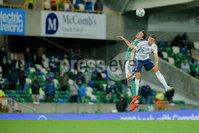 Press Eye - Belfast - Northern Ireland - 12th November 2020. European Qualifier. Northern Ireland v Slovakia. Northern Ireland\'s Tom Flanagan and Slovakia\'s Samuel Mra?z.. Picture: Philip Magowan / Press Eye