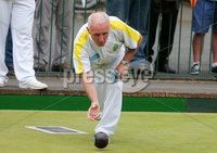 Press Eye Belfast - Northern Ireland 14th July 2017. Bangor Open Bowls Competition at Bangor Bowling Club. . Men singles final - Davy Ball from Donaghadee Bowling Club (red) vs Robert Hastings from Bangor Bowling Club(white and yellow) who won the final. . Picture by Jonathan Porter/PressEye.com.