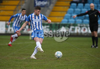 Danske Bank Premiership, Showgrounds, Ballymena . 7/3/2020. Ballymena United FC v Coleraine FC. Coleraine Stephen Lowry scores a penalty against Ballymena United.. Mandatory Credit  INPHO/Brian Little