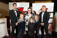Press Eye - Belfast - Northern Ireland - 30th September 2018 - . Padraig O\'Luasa Tammy Murray, Samuel Murray, Reece Murray, Emma Murray and David Priestman pictured at Movie House Dublin Road for a special preview screening of upcoming comedy, JOHNNY ENGLISH STRIKES AGAIN, in cinemas across Northern Ireland from Friday 5th October.. Photo by Kelvin Boyes / Press Eye..