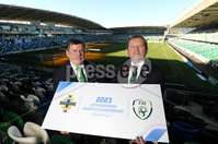Press Eye - Belfast -  Northern Ireland - 01st November 2018 - Photo by William Cherry/Presseye. IFA AND FAI ANNOUNCE JOINT BID FOR 2023 UEFA UNDER-21 CHAMPIONSHIP. The Irish Football Association and the Football Association of Ireland have today announced their intention to submit a joint bid to host the UEFA Under-21 Championship in 2023.. The UEFA Under-21 Championship is the second biggest football tournament in Europe after the UEFA Euros. The best young talent from across the continent play in the tournament with players such as Luis Figo, Petr Cech, Iker Casillas and Andrea Pirlo all having featured in the competition before becoming senior internationals. Pictured at the launch are Donal Conway, FAI President and David Martin IFA President.