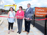 Press Eye Belfast - Northern Ireland 17th May 2017. Ahead of June Westminster election DUP leader Arlene Foster visits several projects in east Belfast.  . Arlene Foster(centre) opens a new walk way in the Pitt Park area of east Belfast with Roz Small - Manager of Ballymac Friendship Trust(left) and DUP candidate for east Belfast Gavin Robinson. . Picture by Jonathan Porter/PressEye.com.