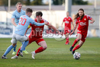 Sadler\'s Peaky Blinders Irish Cup First Round. The Showgrounds, Ballymena, Northern Ireland 27/4/21. Ballymena United vs Portadown. Ballymenas Trai Hume and Portadowns Lee Bonis. Mandatory Credit INPHO/PressEye/Philip Magowan