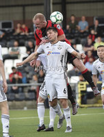 11th July 2019. Europa league First round qualifying match between Crusaders and B36 Torshavn at Seaview Belfast.. Crusaders Jordan Owens  in action with Torshavns Eli Nielsen. Mandatory Credit / Stephen Hamilton/Inpho