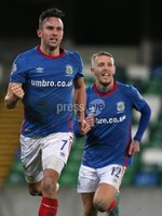 Danske Bank Premiership, Windsor Park, Belfast 2/12/2017 . Linfield vs Dungannon Swifts. Linfield\'s Andrew Waterworth celebrates scoring. Mandatory Credit ©INPHO/Brian Little
