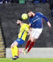 Danske Bank Premiership, Windsor Park, Belfast 10/2/2018. Linfield vs Dungannon Swifts. Linfield\'s Mark Stafford in action with Cormac Burke of Dungannon. Mandatory Credit ©INPHO/Declan Roughan