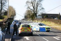 Press Eye - Belfast - Northern Ireland - 21st February 2021. General view of PSNI officers at the scene of an incident In Magherafelt, Co Derry. . Drivers have been advised that the Castledawson Road in Magherafelt has been closed as police deal with an ongoing incident.. Photo by Kelvin Boyes / Press Eye