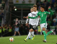 Press Eye - Belfast - Northern Ireland - 9th September 2019 - Picture Matt Mackey / Press Eye.. EURO qualifier 2020 Stadium at Windsor Park, Belfast. Northern Ireland Vs Germany.. Northern Ireland\'s Jamal Lewis with Germany\'s Joshua Kimmich.