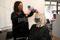 Press Eye - Belfast - Northern Ireland - 20th November  2020. Picture by Declan Roughen / Press Eye. Nu-You hair salon Queens Street Belfast. (L-R) Owner Emma McClean and Michelle Devine.. . usinesses in Northern Ireland such as cafes and hair salons are allowed to reopen after some of the Covid-19 restrictions imposed by the Stormont Executive last month ended on Friday.. That will involve the closure of non-essential retail, close-contact services, restaurants, and churches apart from for weddings and funerals.. Schools remain open under the measures.. Ministers have also advised against household gatherings outside of support bubbles, and said people should work from home.