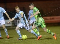 Danske Bank Premiership, Milltown Playing Fields, Newry 13/2/2018. Warrenpoint Town vs Cliftonville. Mandatory Credit ©INPHO/Stephen Hamilton. Warrenpoints Stephen Moan  in action with Cliftonvilles  Ruari Harkin