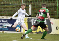 29/02/20. Sadlers Peaky Blinders Irish Cup Quarter final between Glentoran  and Crusaders at the Oval Belfast. Glentorans Patrick McClean in action with Crusaders Jamie McGonnigle. Mandatory Credit - Inpho/Stephen Hamilton.