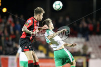 Danske Bank Premiership 5/10/2018. Crusaders vs Cliftonville. Crusader\'s Jordan Forsythe with Conor McDonald of Cliftonville. Mandatory Credit INPHO/Declan Roughan