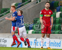 Danske Bank Premiership at Windsor Park, Belfast.  07.12.2019. Linfield FC Vs Cliftonville FC. Linfields Shayne Lavery(right) congratulates teammate Christopher Casement after he scores to make it 1-0. . Mandatory Credit INPHO/Jonathan Porter