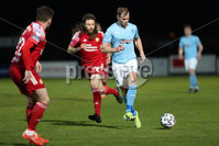 Sadler\'s Peaky Blinders Irish Cup First Round. The Showgrounds, Ballymena, Northern Ireland 27/4/21. Ballymena United vs Portadown. Ballymenas Leroy Millar and Portadowns Ben Tilney. Mandatory Credit INPHO/PressEye/Philip Magowan