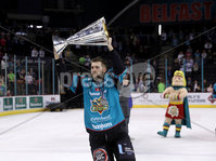 Press Eye - Belfast -  Northern Ireland - 06th April 2019 - Photo by William Cherry/Presseye. Belfast Giants\' /g/ pictured with the Elite Ice Hockey League trophy after being crowned Champions at the SSE Arena, Belfast.       Photo by William Cherry/Presseye