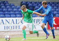 Press Eye Belfast - Northern Ireland 7th September 2018. U19 International Challenge Match - Northern Ireland Vs Slovakia at The Showgrounds, Newry.. Northern Ireland\'s Sean Graham with Slovakia\'s Samuel Sula.. Picture by Jonathan Porter/PressEye.com