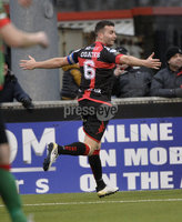 Danske Bank Premiership, Seaview Belfast.. 10/02/2018.  Crusaders v Glentoran. Crusaders Colin Coates celebrates after he  head his side into a 3-1 lead. Mandatory Credit ©INPHO/Stephen Hamilton.
