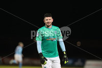 Danske Bank Premiership, Showgrounds, Ballymena.. 16/2/2021. Ballymena United  FC vs Coleraine FC . Ballymena United  Joseph McCready replaces goalkeeper Jordan Williamsonafter being sent off against Coleraine   during Tuesday night\'s Danske Bank Premiership match at Ballymena Showgrounds.. Mandatory Credit  INPHO/Brian Little