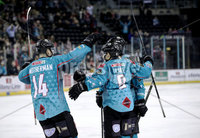 Press Eye - Belfast, Northern Ireland - 29th February 2020 - Photo by William Cherry/Presseye. Belfast Giants\' Patrick Mullen celebrates scoring against the Guildford Flames during Saturday nights Elite Ice Hockey League game at the SSE Arena, Belfast.    Photo by William Cherry/Presseye