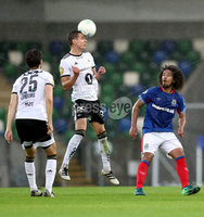 Press Eye - Belfast -  Northern Ireland - 10th July 2019 - Photo by William Cherry/Presseye/Inpho. Linfield\'s Bastien Hery with Rosenborg\'s Anders Konradsen during Wednesday nights Champions League, Qualifying First Round, 1st Leg game at the National Stadium at Windsor Park, Belfast.