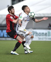 11th July 2019. Europa league First round qualifying match between Crusaders and B36 Torshavn at Seaview Belfast.. Crusaders Howard Beverland  in action with Torshavns Lukasz Cieslewicz. Mandatory Credit / Stephen Hamilton/Inpho