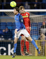 Danske Bank Premiership, Mourneview Park, Lurgan, Co. Armagh 13/1/2018. Glenavon vs Cliftonville. Glenavon\'s Andrew Hall with Ross Lavery of Cliftonville. Mandatory Credit ©INPHO/Declan Roughan