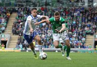 PressEye-Northern Ireland- 8th September  2018-Picture by Brian Little/ PressEye. Northern Ireland  Stuart Dallas     and Bosnia and Herzegovina  Muhamed Besic    during  Saturday\'s  UEFA Nations League match at the National Football Stadium at Windsor Park.. Picture by Brian Little/PressEye .