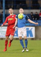 Danske Bank Premiership, Mourneview Park, Lurgan, Co. Armagh 13/1/2018. Glenavon vs Cliftonville. Glenavon\'s James Singleton with Jay Donnelly. of Cliftonville. Mandatory Credit ©INPHO/Declan Roughan