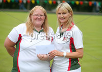 Press Eye Belfast - Northern Ireland 14th July 2017. Bangor Open Bowls Competition at Bangor Bowling Club. . Left to right.  Suzanne Stewart and Alison Morris from Northern Ireland Civil Service Bowling Club who were the runners up in the Ladies Pairs competition.  . Picture by Jonathan Porter/PressEye.com.