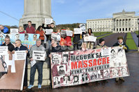 8th November 2018. Sinn Fin  members pictured at Stormont lending support to a  a protest organised by Time for Truth  marking 8 months since Justice Girvans ruling on funding for the Coroners Courts. . Photograph-Stephen Hamilton /Presseye