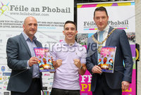 Press Eye - Belfast - Northern Ireland - 21st June 2019. Picture by Jonathan Porter/PressEye. File an Phobail 2019 August Festival Programme launch at Conway Mill in west Belfast. . Left to right.  Kevin Gamble, Michael Conlan and Lord Mayor of Belfast John Finucane.. .  . PRESS RELEASE. ON BEHALF OF FILE AN PHOBAIL. For media enquiries please contact Sen Duffy on 07554010922 or email sean@evolvecpa.com. Boxing Star Michael Conlan launches File an Phobail 2019 August Festival Programme. Boxing star Michael Conlan today launched this years File an Phobails August festival programme, along with Belfast Mayor John Finucane, at a packed Conway Mill on Belfasts Falls Road.. Opening the launch event, Belfast Mayor John Finucane said:. For more than 30 years, organisers of File an Phobail have worked tirelessly to create a diverse, open and inclusive festival which celebrates the richness and diversity of Belfasts culture and communities.. Im delighted that Belfast City Council is one of the principal funders of this festival. What started out as a small but bold community festival three decades ago, has grown into a highly anticipated and important event on the citys festival calendar, attracting thousands of people each and every year, not just from across the city but across the world.. File an Phobail brings West Belfast to life, with a unique offering of events and activities which entertain, educate and challenge.. Its reputation continues to go from strength to strength and the positive economic impact it has on our city is fantastic.. This years packed festival programme has something for everyone to enjoy. The wide variety of acts and events showcases an incredible depth of talent across music, drama and the arts.. Visitors can look forward to performances by world-renowned music stars, debates, exhibitions, plays, sporting events, family and community events, and much more.. I want to wish all of the festival
