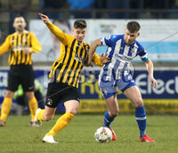 Tennent\'s Irish Cup Round 5, The Showgrounds, Co. Londonderry 5/1/2019. Coleraine vs H&W Welders. Coleraine\'s Stephen Lowry in action with H&W Welders Charlie Dornan. Mandatory Credit INPHO/Matt Mackey