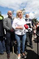 Press Eye - Time for Truth March - Belfast - 9th June 2019. Photograph by Declan Roughan. (L-R)  Sinn Fin\'s Paul Maskey, Michelle O\'Neill and Francie Molloy.. Sinn Fin Leas Uachtarn Michelle O\'Neill joined today\'s Time for Truth March at Divis Street and spoke briefly to the media before the march.