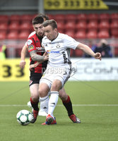 11th July 2019. Europa league First round qualifying match between Crusaders and B36 Torshavn at Seaview Belfast.. Crusaders Michael Ruddy  in action with Torshavns Arni Frederiksberg. Mandatory Credit / Stephen Hamilton/Inpho