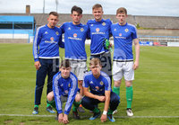 Press Eye Belfast - Northern Ireland 7th September 2018. U19 International Challenge Match - Northern Ireland Vs Slovakia at The Showgrounds, Newry.. Northern Ireland subs line out at the start of the match. . Picture by Jonathan Porter/PressEye.com