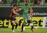Wednesday 11th July 2018. UEFA Champions League First Qualifying Round First Leg between PFC Ludogorets Razgrad and Crusaders FC .. Ludogorets Claudiu-Andrei Keseru in action with Crusaders PhilipLowry. Mandatory Credit: Inpho/Stephen Hamilton