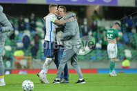 Press Eye - Belfast - Northern Ireland - 12th November 2020. European Qualifier. Northern Ireland v Slovakia. Slovakia\'s Juraj Kucka and manager Stefan Tarkovic.. Picture: Philip Magowan / Press Eye