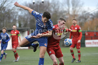 9th January 2021. Danske Bank Premiership, Solitude, Belfast . Cliftonville vs Crusaders. Cliftonville\'s Aaron Donnelly   in action with Crusaders Adam Leckey . Mandatory Credit INPHO/Stephen Hamilton