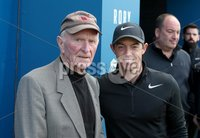 Press Eye - Belfast - Northern Ireland - 5th July 2017 . Rory Mcliroy meets with Harry Gregg at the Dubai Duty Free Irish Open Hosted by the Rory Foundation Invitational Pro-Am at Portstewart Golf Club, Co.Derry / Co. Londonderry, Northern Ireland.. Picture by Matt Mackey / presseye.com.