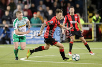 Danske Bank Premiership, Seaview, Belfast, 05/10/2018. Crusaders v Cliftonville. Mandatory Credit INPHO/Declan Roughan. Crusaders  Jordan Forsythe with Christopher Curran of Cliftonville