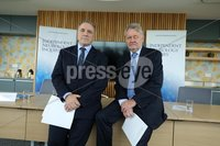 Press Eye - Belfast - Northern Ireland -  8th October 2018 - . Independent Neurology Inquiry. Today Monday 08/10/2018, the Chairman of the Independent Neurology Inquiry Panel, Mr Brett Lockhart QC and his co-panellist Professor Hugo Mascie-Taylor, announced the details of the Inquirys public engagement process for patients, former patients, relatives of patients and health care workers who have had experience of neurology services in the Greater Belfast area before or since 2008 up until June 2018..  . The Chairperson, Mr Brett Lockhart QC, and Panel Member, Professor Hugo Mascie-Taylor are pictured at the press conference. . Photo by Kelvin Boyes  / Press Eye..